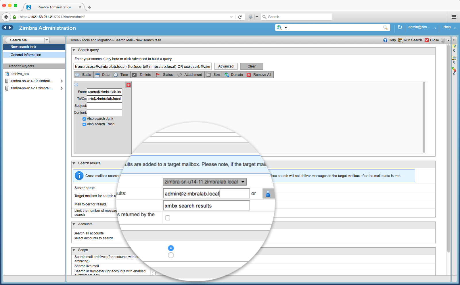 Zimbra Email Archiving and Discovery