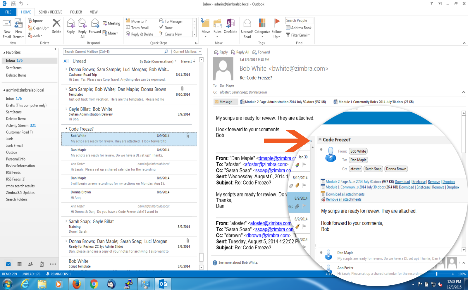 how to chat in outlook zimbra